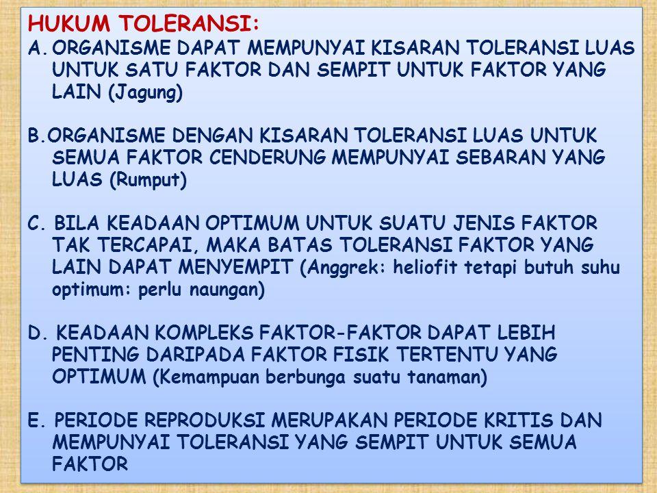 HUKUM TOLERANSI: ORGANISME DAPAT MEMPUNYAI KISARAN TOLERANSI LUAS UNTUK SATU FAKTOR DAN SEMPIT UNTUK FAKTOR YANG LAIN (Jagung)