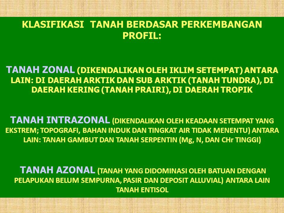 KLASIFIKASI TANAH BERDASAR PERKEMBANGAN PROFIL: