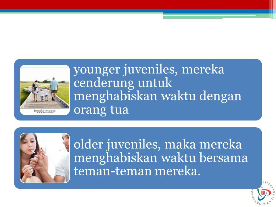 younger juveniles, mereka cenderung untuk menghabiskan waktu dengan orang tua