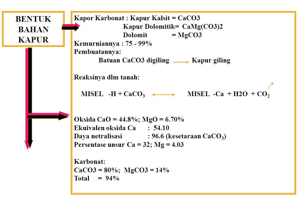BENTUK BAHAN KAPUR Kapor Karbonat : Kapur Kalsit = CaCO3