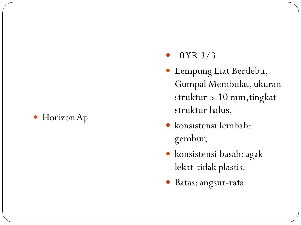 Horizon Ap 10 YR 3/3. Lempung Liat Berdebu, Gumpal Membulat, ukuran struktur 5-10 mm,tingkat struktur halus,