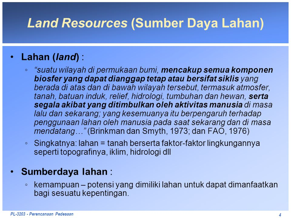 Land Resources (Sumber Daya Lahan)
