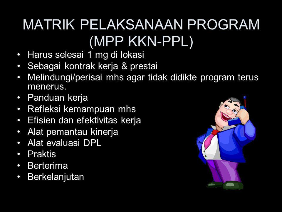 MATRIK PELAKSANAAN PROGRAM (MPP KKN-PPL)