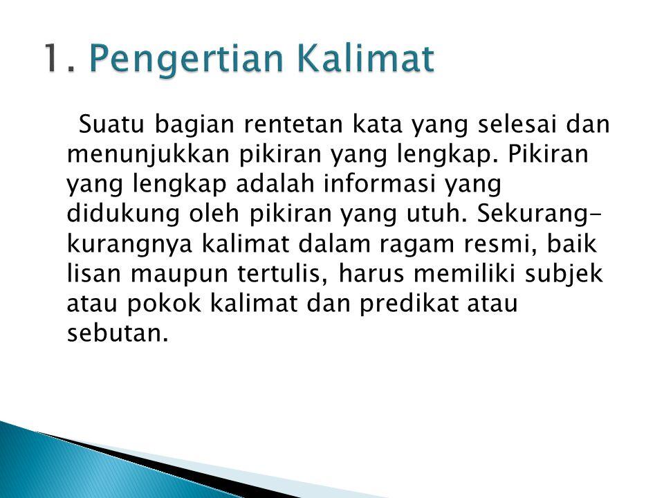 1. Pengertian Kalimat