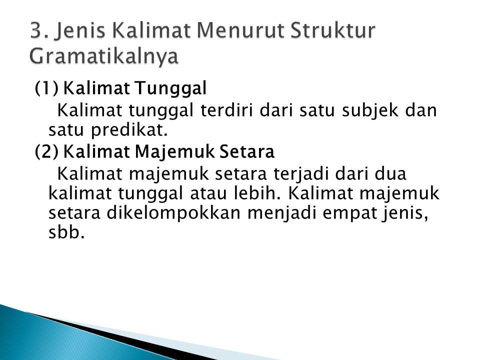 3. Jenis Kalimat Menurut Struktur Gramatikalnya