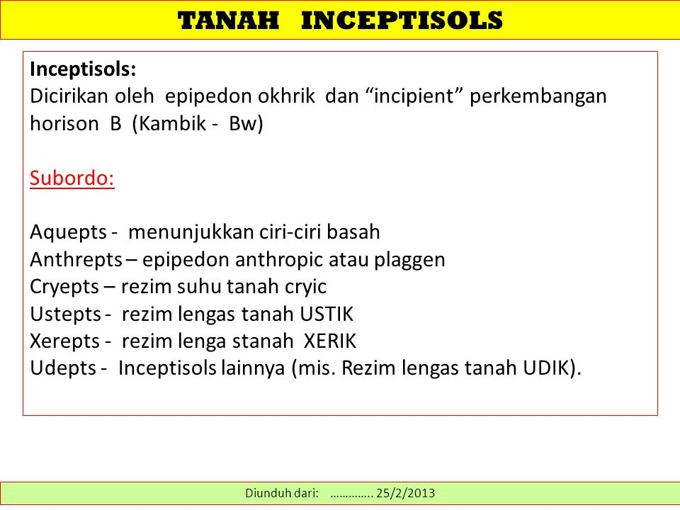 TANAH INCEPTISOLS Inceptisols: