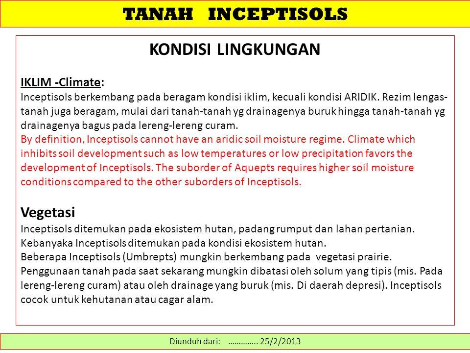 TANAH INCEPTISOLS KONDISI LINGKUNGAN Vegetasi IKLIM -Climate: