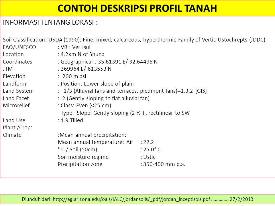 CONTOH DESKRIPSI PROFIL TANAH