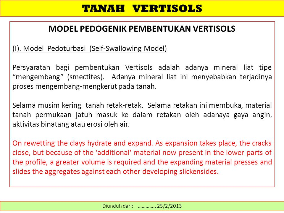 MODEL PEDOGENIK PEMBENTUKAN VERTISOLS