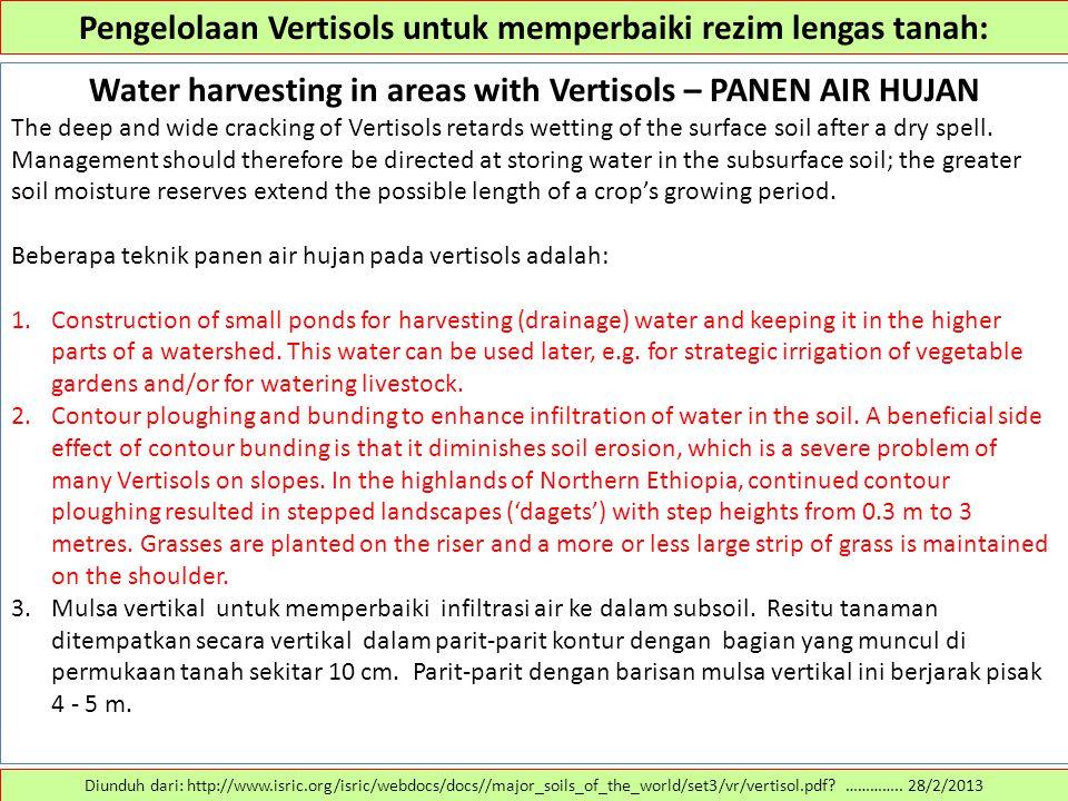 Pengelolaan Vertisols untuk memperbaiki rezim lengas tanah: