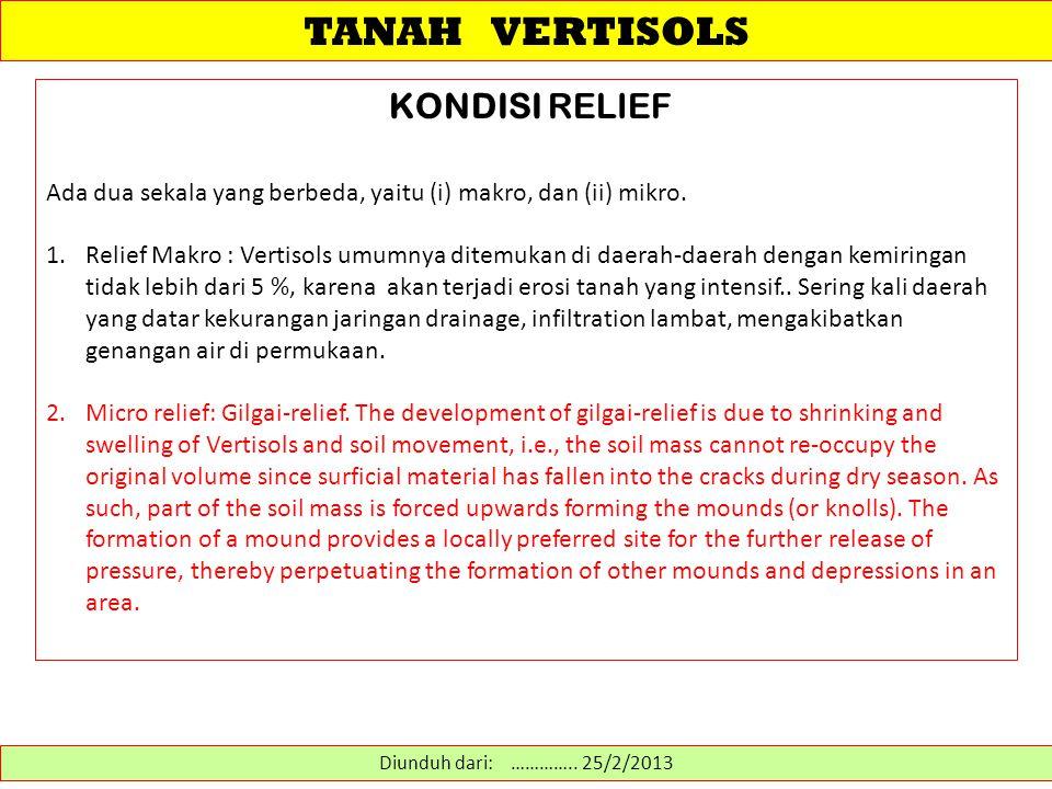 TANAH VERTISOLS KONDISI RELIEF