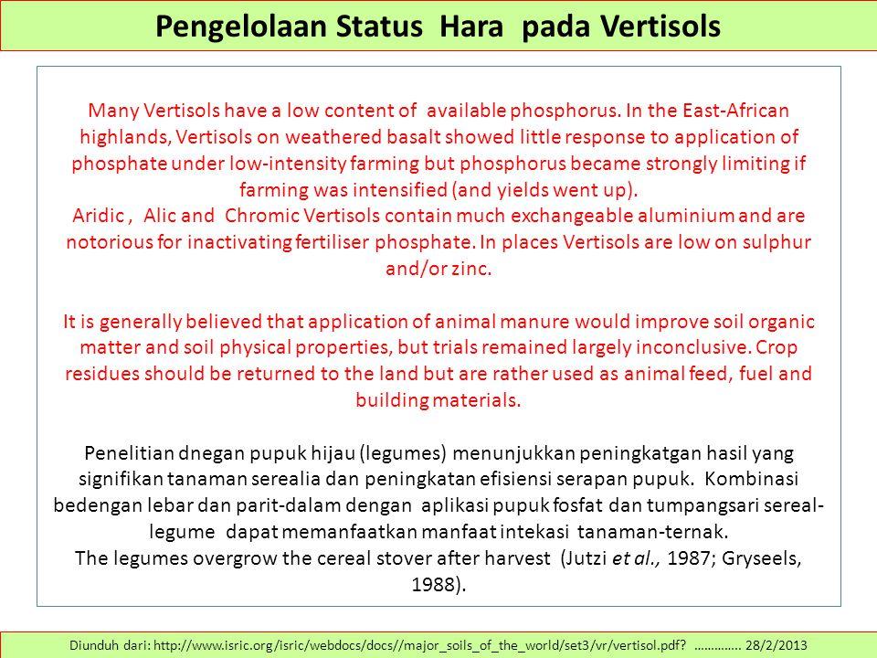 Pengelolaan Status Hara pada Vertisols