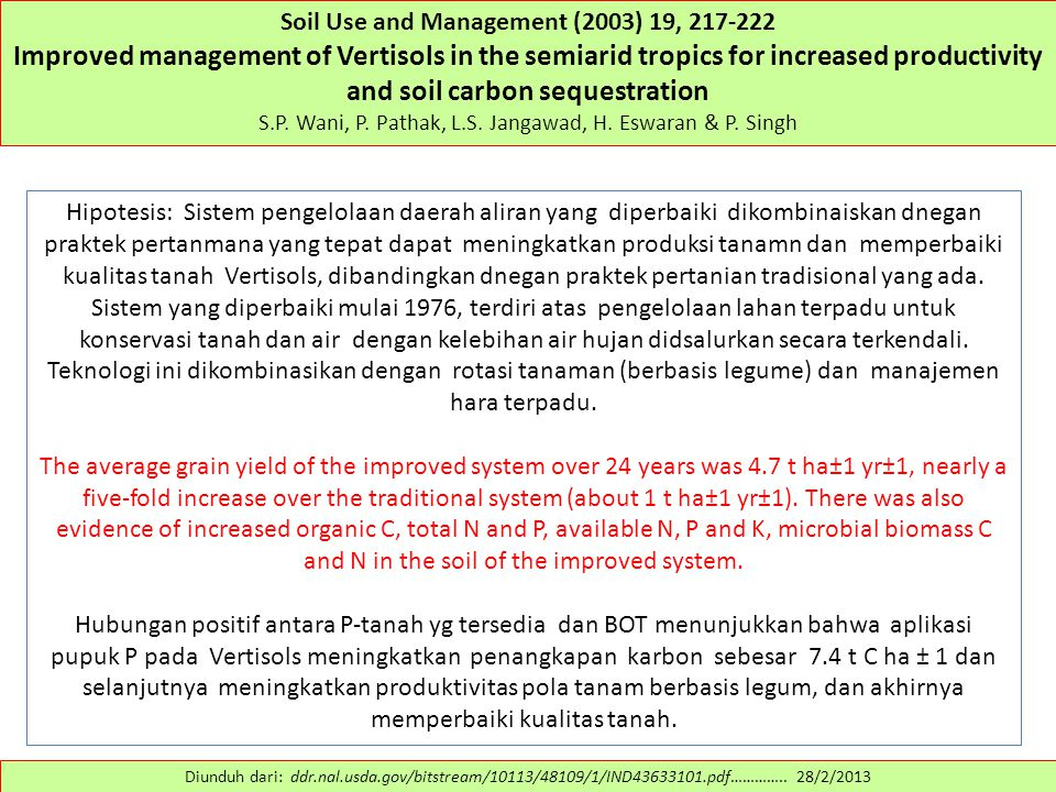 Soil Use and Management (2003) 19, 217-222
