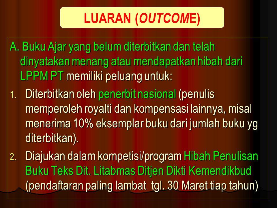 LUARAN (OUTCOME) A. Buku Ajar yang belum diterbitkan dan telah dinyatakan menang atau mendapatkan hibah dari LPPM PT memiliki peluang untuk: