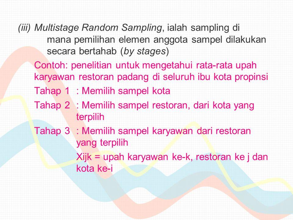 Multistage Random Sampling, ialah sampling di