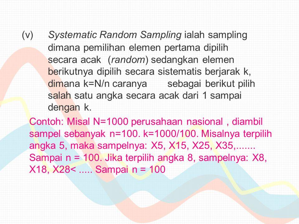 (v). Systematic Random Sampling ialah sampling