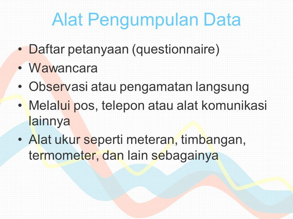 Alat Pengumpulan Data Daftar petanyaan (questionnaire) Wawancara