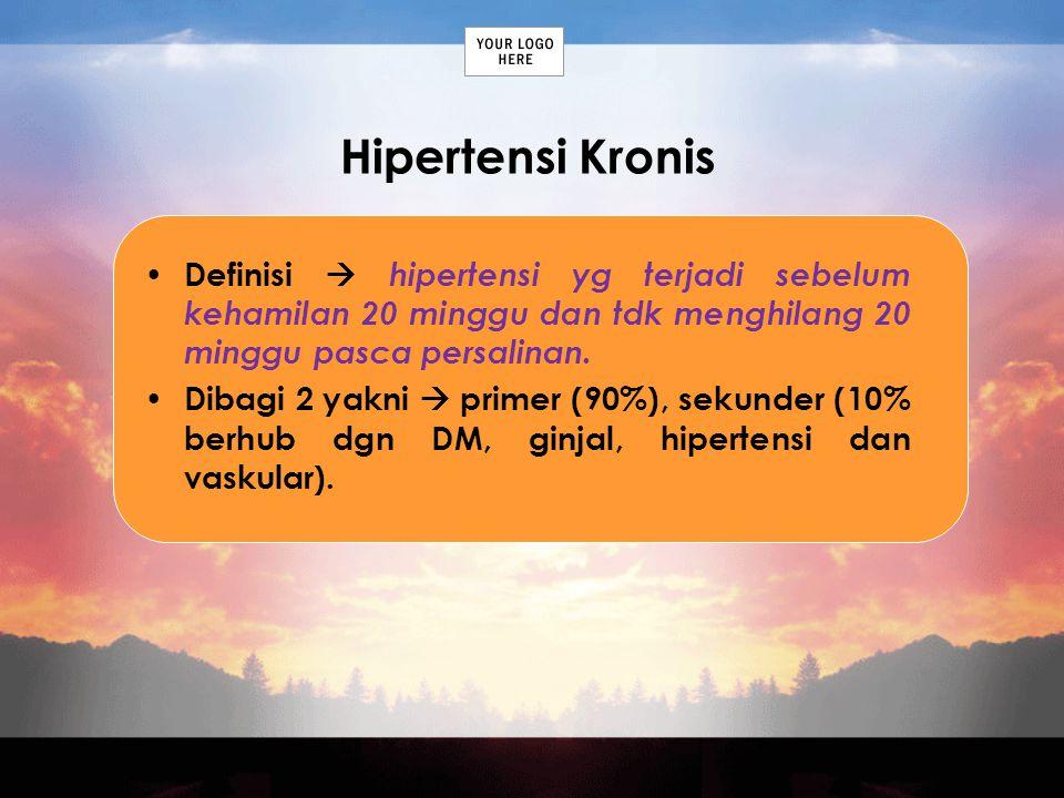 Hipertensi Kronis Definisi  hipertensi yg terjadi sebelum kehamilan 20 minggu dan tdk menghilang 20 minggu pasca persalinan.