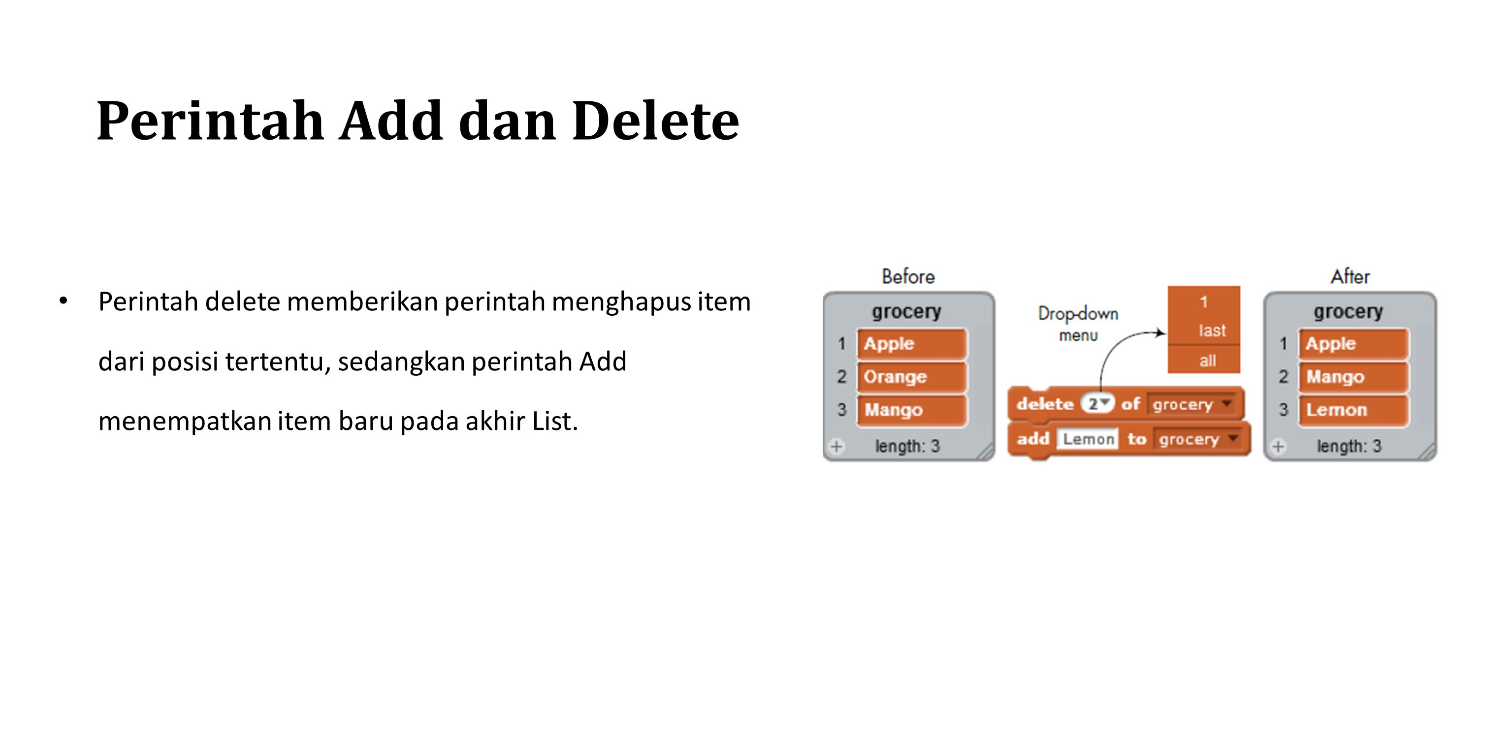 Perintah Add dan Delete