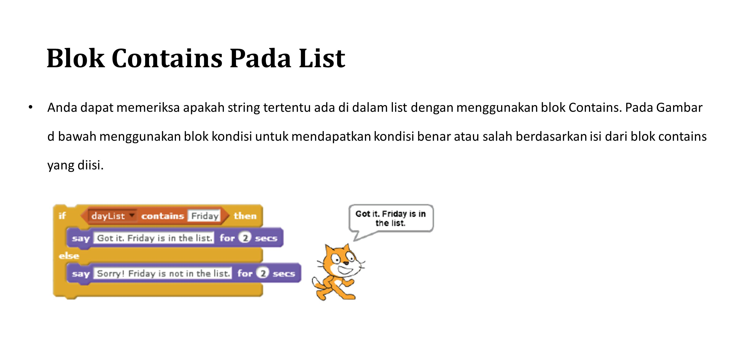 Blok Contains Pada List