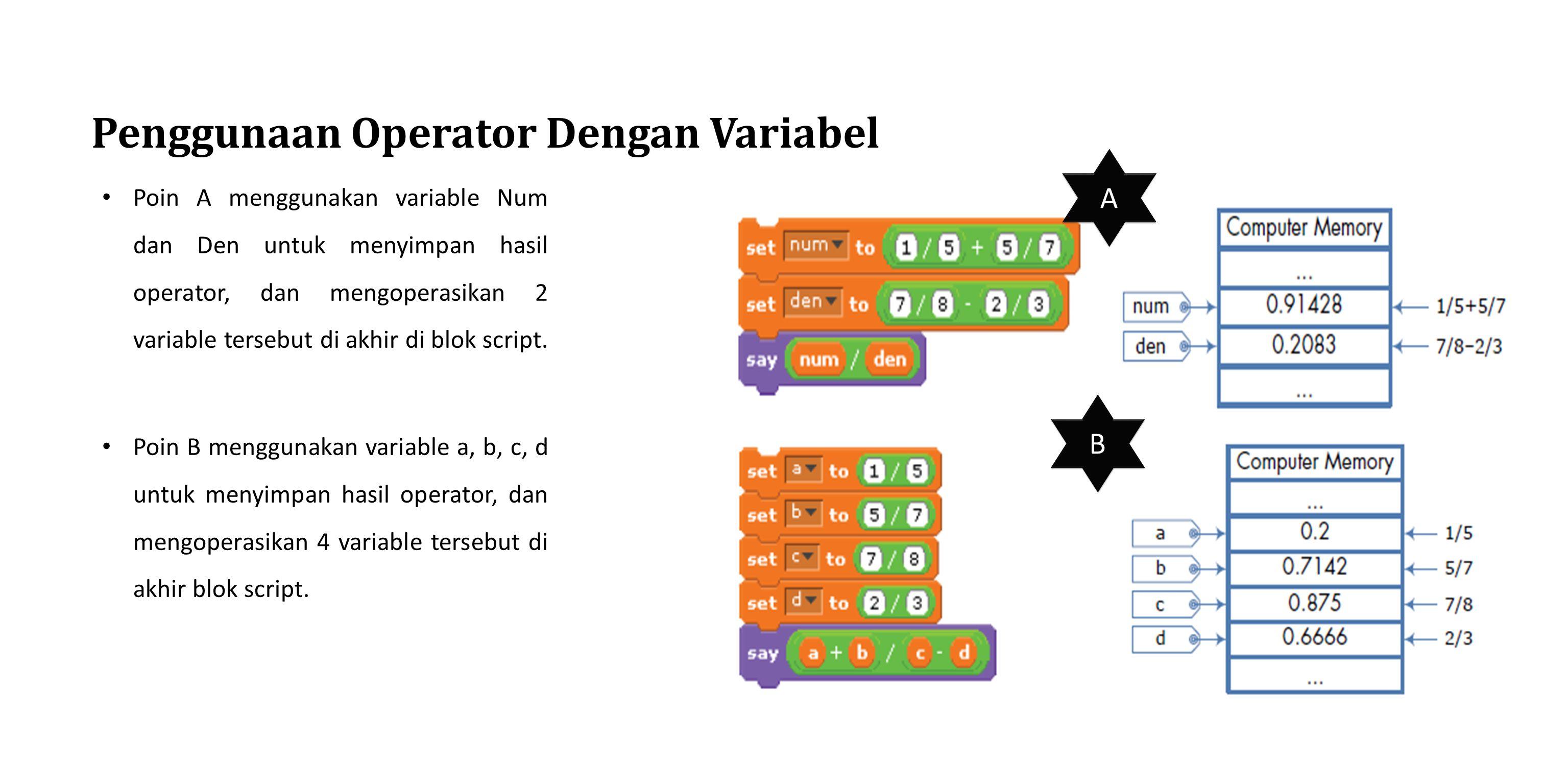 Penggunaan Operator Dengan Variabel