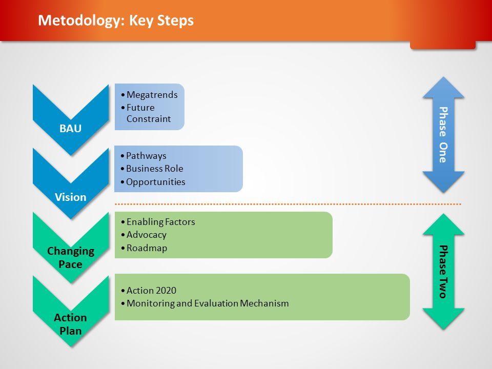 Metodology: Key Steps Changing Action BAU Vision Pace Plan Phase One
