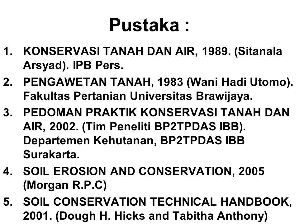 Pustaka : KONSERVASI TANAH DAN AIR, 1989. (Sitanala Arsyad). IPB Pers.