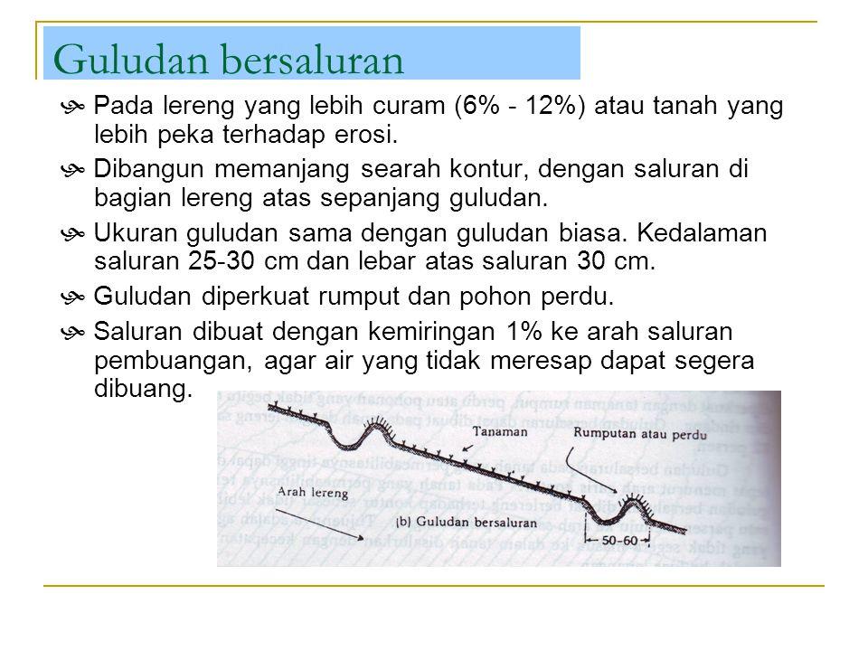 Guludan bersaluran  Pada lereng yang lebih curam (6% - 12%) atau tanah yang lebih peka terhadap erosi.