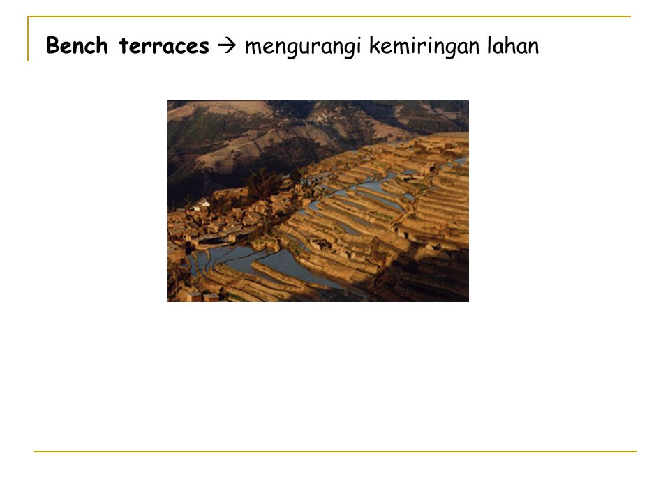 Bench terraces  mengurangi kemiringan lahan