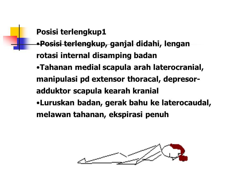 Posisi terlengkup1 Posisi terlengkup, ganjal didahi, lengan rotasi internal disamping badan.