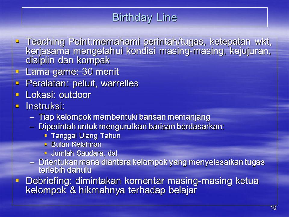 Birthday Line Teaching Point:memahami perintah/tugas, ketepatan wkt, kerjasama mengetahui kondisi masing-masing, kejujuran, disiplin dan kompak.