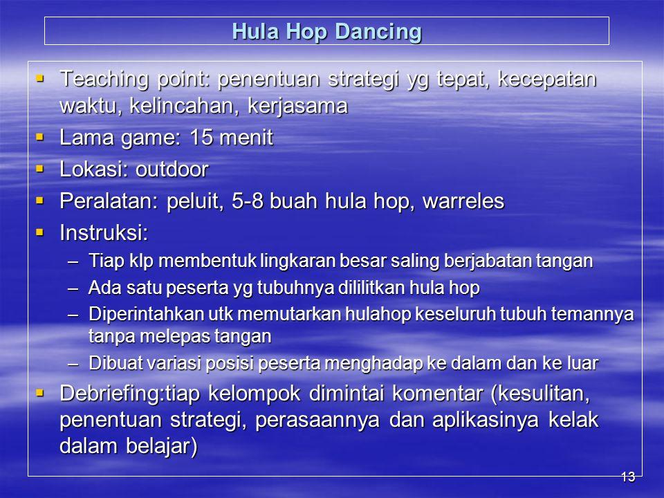 Peralatan: peluit, 5-8 buah hula hop, warreles Instruksi: