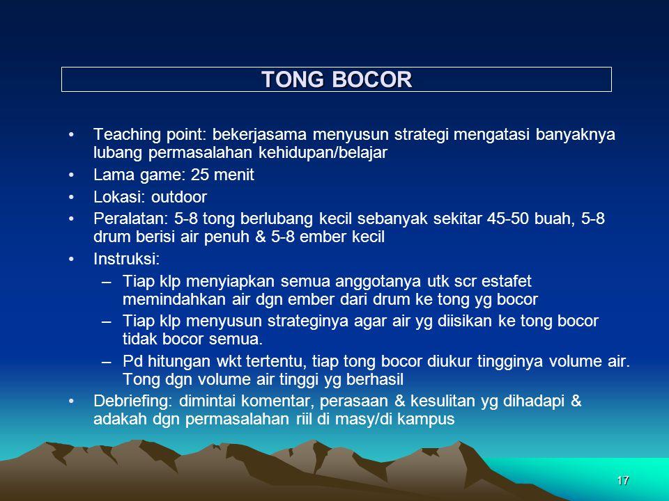 TONG BOCOR Teaching point: bekerjasama menyusun strategi mengatasi banyaknya lubang permasalahan kehidupan/belajar.