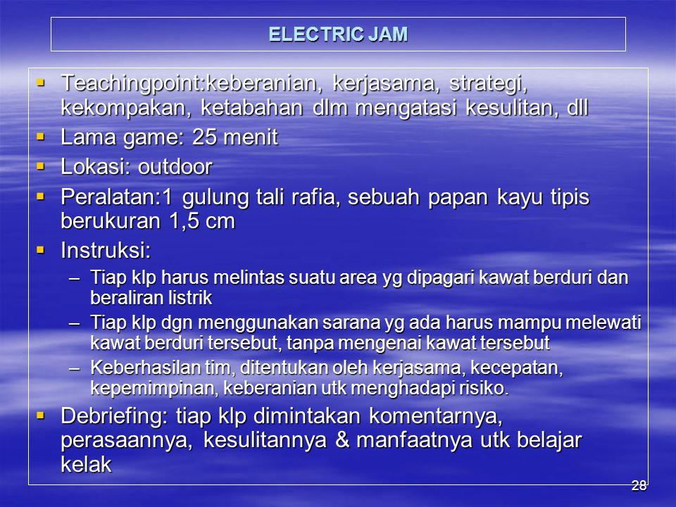 ELECTRIC JAM Teachingpoint:keberanian, kerjasama, strategi, kekompakan, ketabahan dlm mengatasi kesulitan, dll.