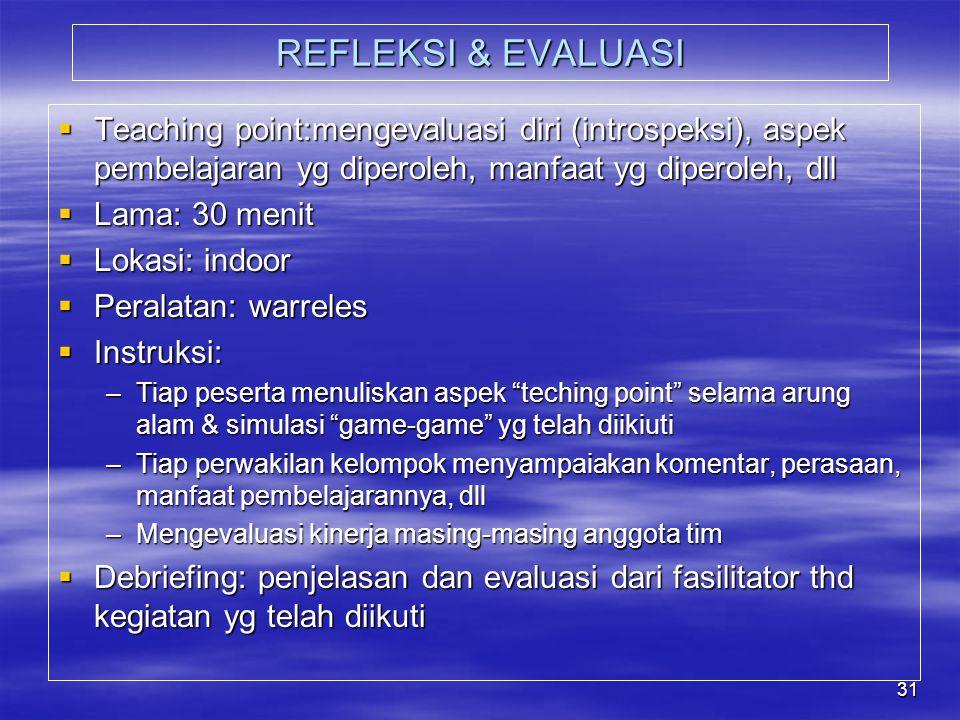 REFLEKSI & EVALUASI Teaching point:mengevaluasi diri (introspeksi), aspek pembelajaran yg diperoleh, manfaat yg diperoleh, dll.