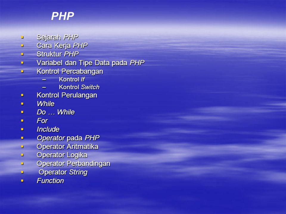 PHP Sejarah PHP Cara Kerja PHP Struktur PHP