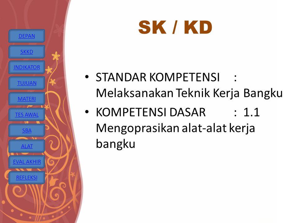 SK / KD STANDAR KOMPETENSI : Melaksanakan Teknik Kerja Bangku