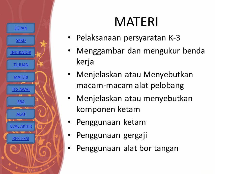 MATERI Pelaksanaan persyaratan K-3 Menggambar dan mengukur benda kerja