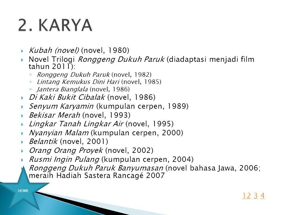 2. KARYA Kubah (novel) (novel, 1980)