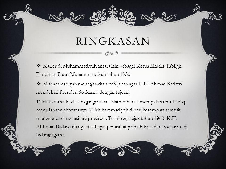 Ringkasan Karier di Muhammadiyah antara lain sebagai Ketua Majelis Tabligh Pimpinan Pusat Muhammaadiyah tahun 1933.