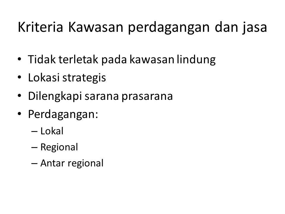 Kriteria Kawasan perdagangan dan jasa