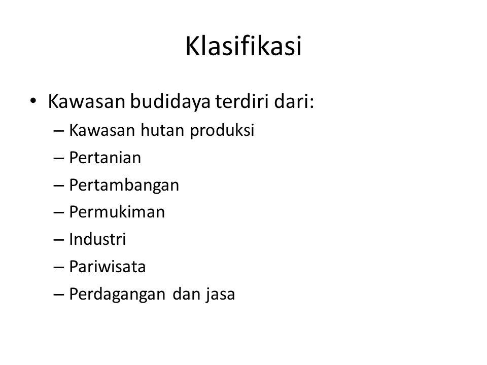 Klasifikasi Kawasan budidaya terdiri dari: Kawasan hutan produksi