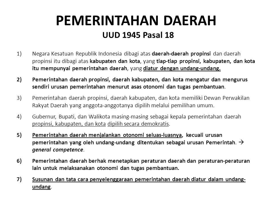 PEMERINTAHAN DAERAH UUD 1945 Pasal 18