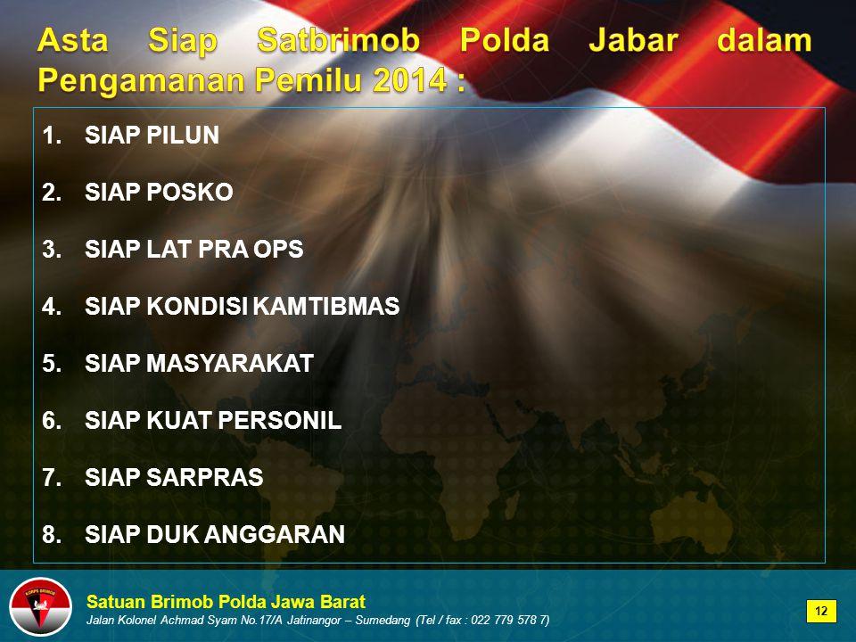 Asta Siap Satbrimob Polda Jabar dalam Pengamanan Pemilu 2014 :