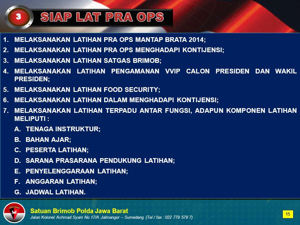 SIAP LAT PRA OPS 3 MELAKSANAKAN LATIHAN PRA OPS MANTAP BRATA 2014;