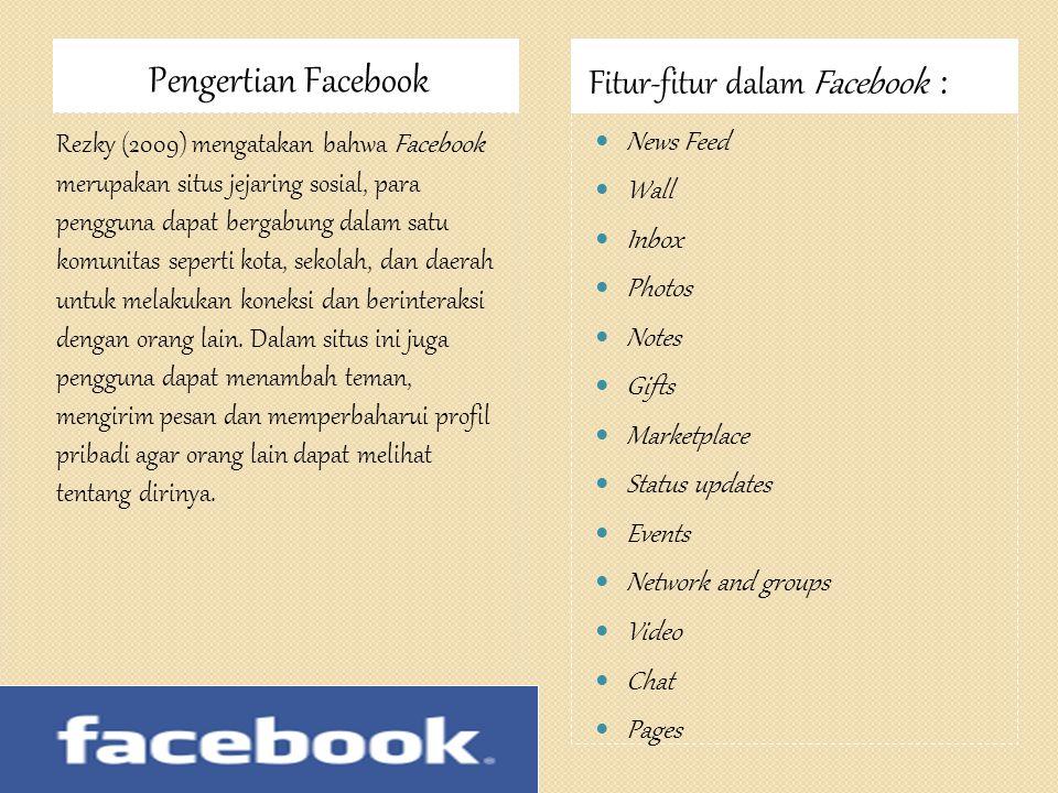 Pengertian Facebook Fitur-fitur dalam Facebook :