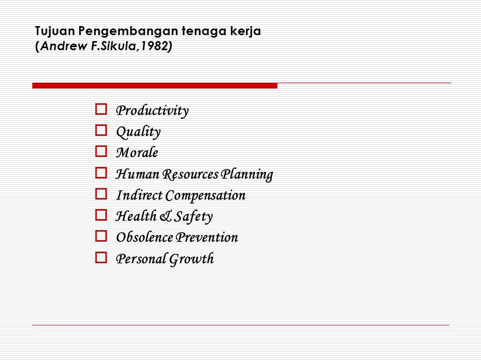 Tujuan Pengembangan tenaga kerja (Andrew F.Sikula,1982)