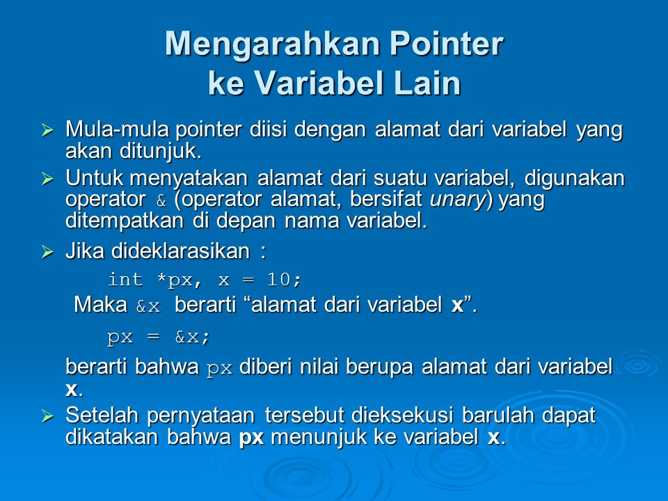 Mengarahkan Pointer ke Variabel Lain