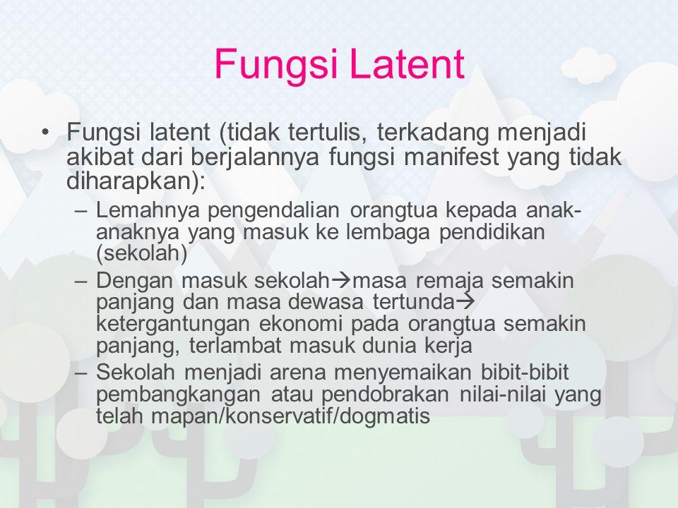 Fungsi Latent Fungsi latent (tidak tertulis, terkadang menjadi akibat dari berjalannya fungsi manifest yang tidak diharapkan):