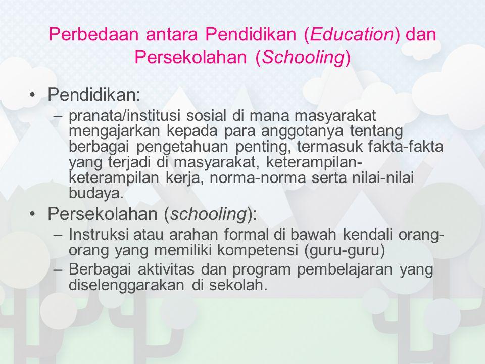 Perbedaan antara Pendidikan (Education) dan Persekolahan (Schooling)